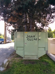 Whoever tagged this has done it all over my neighbourhood. I find it quite funny.